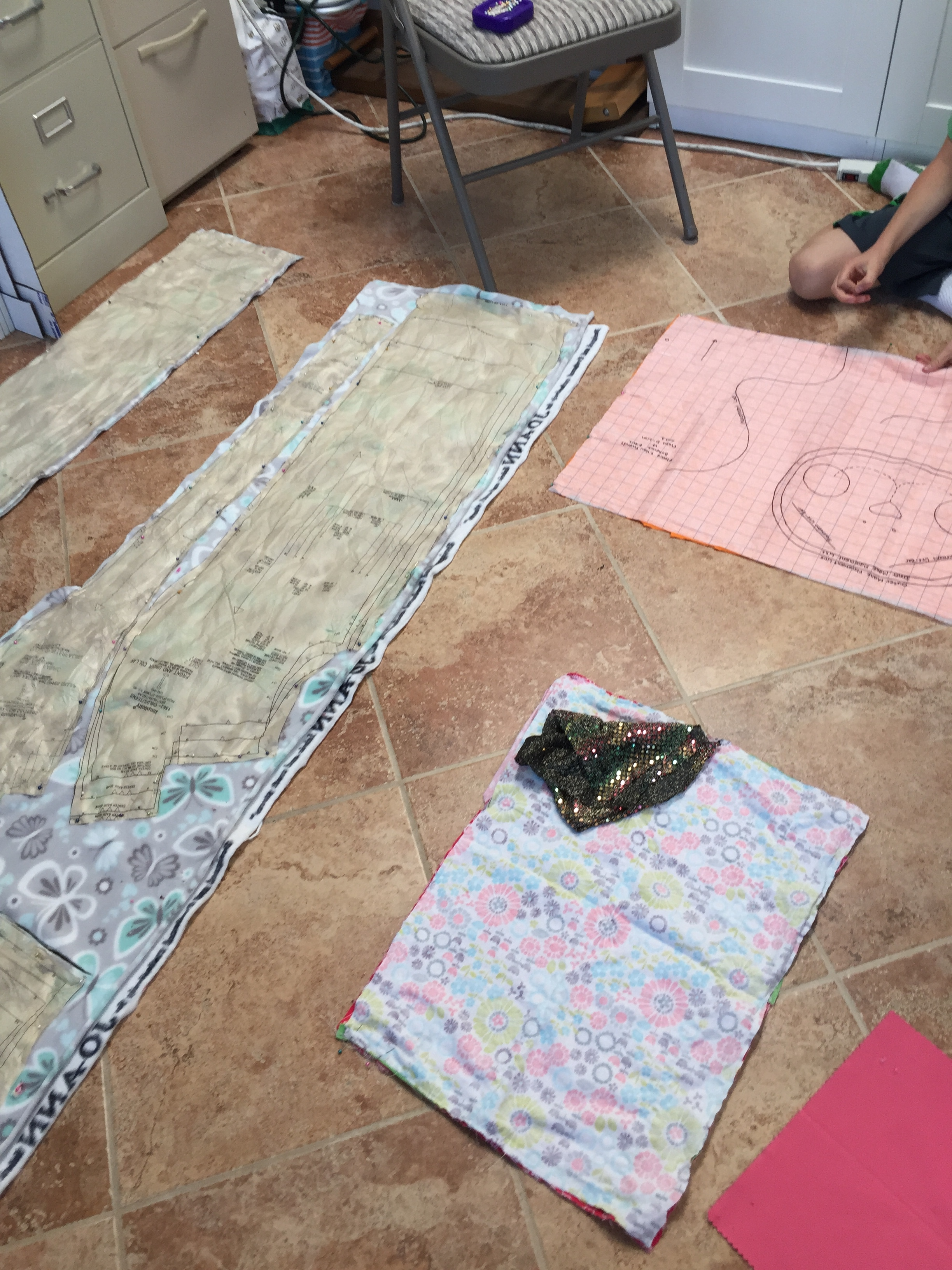 More pinning and cutting of new sewing projects.