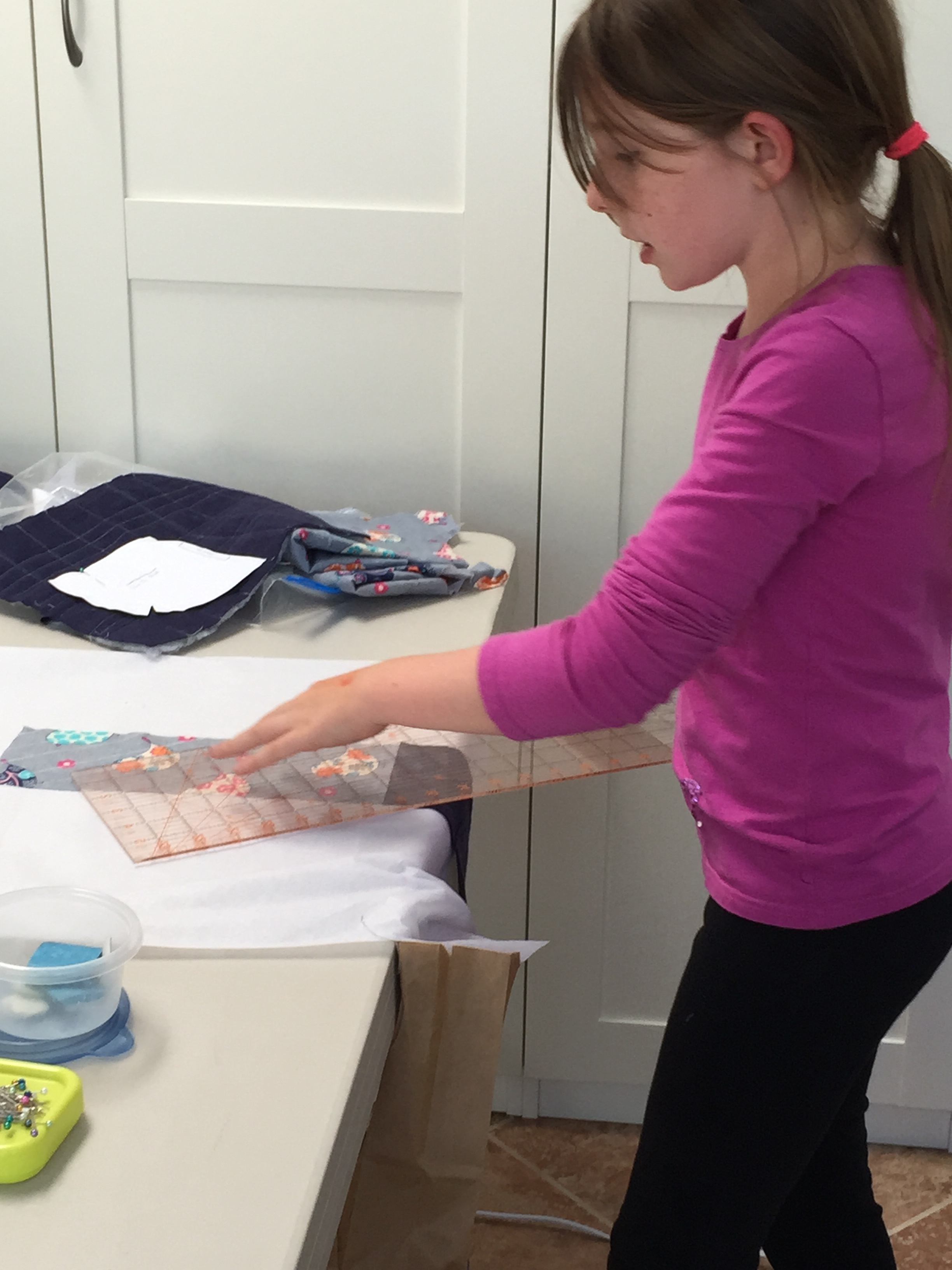Marking fabric for quilting.