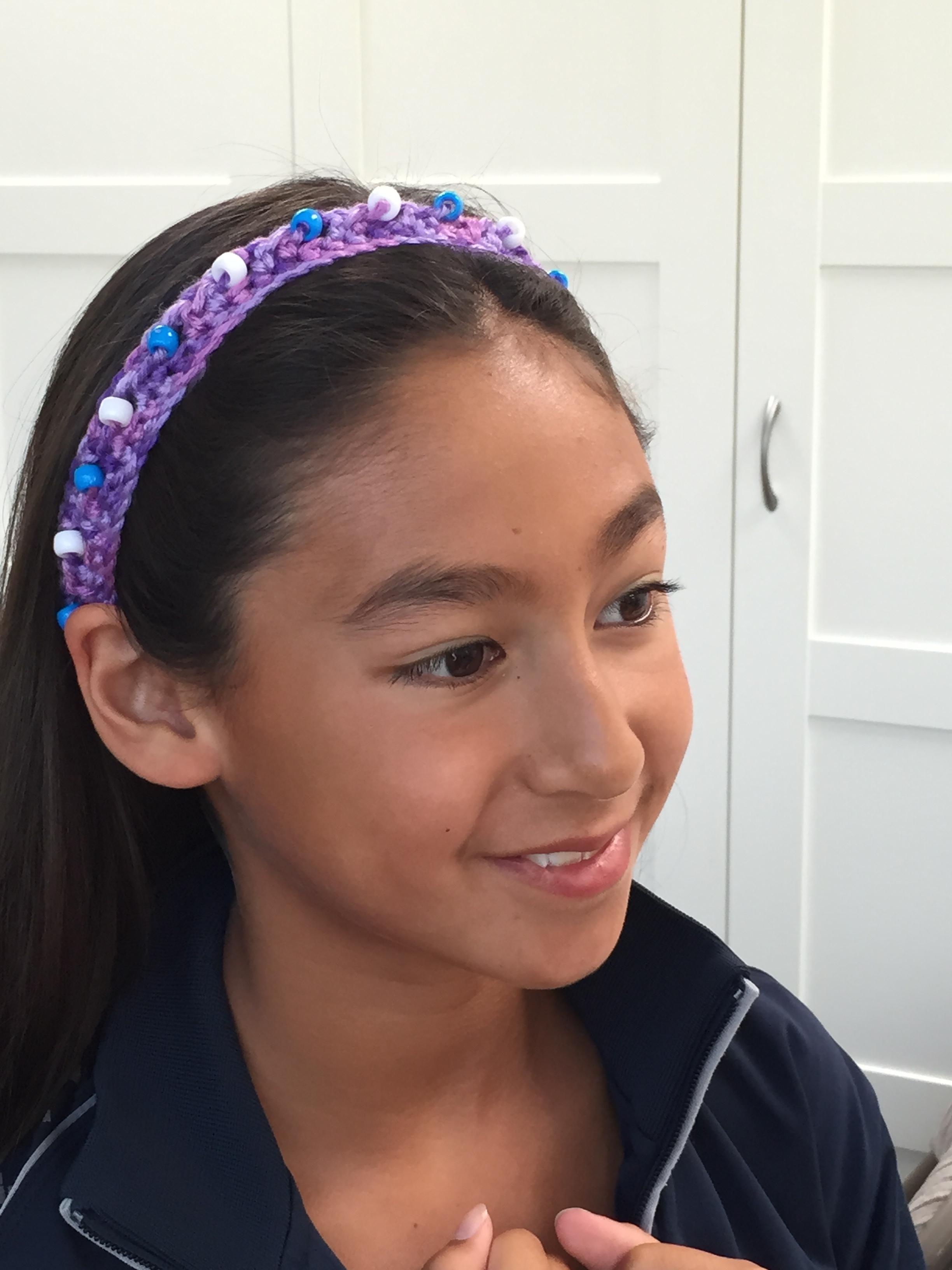 Crochet Beaded Headband.