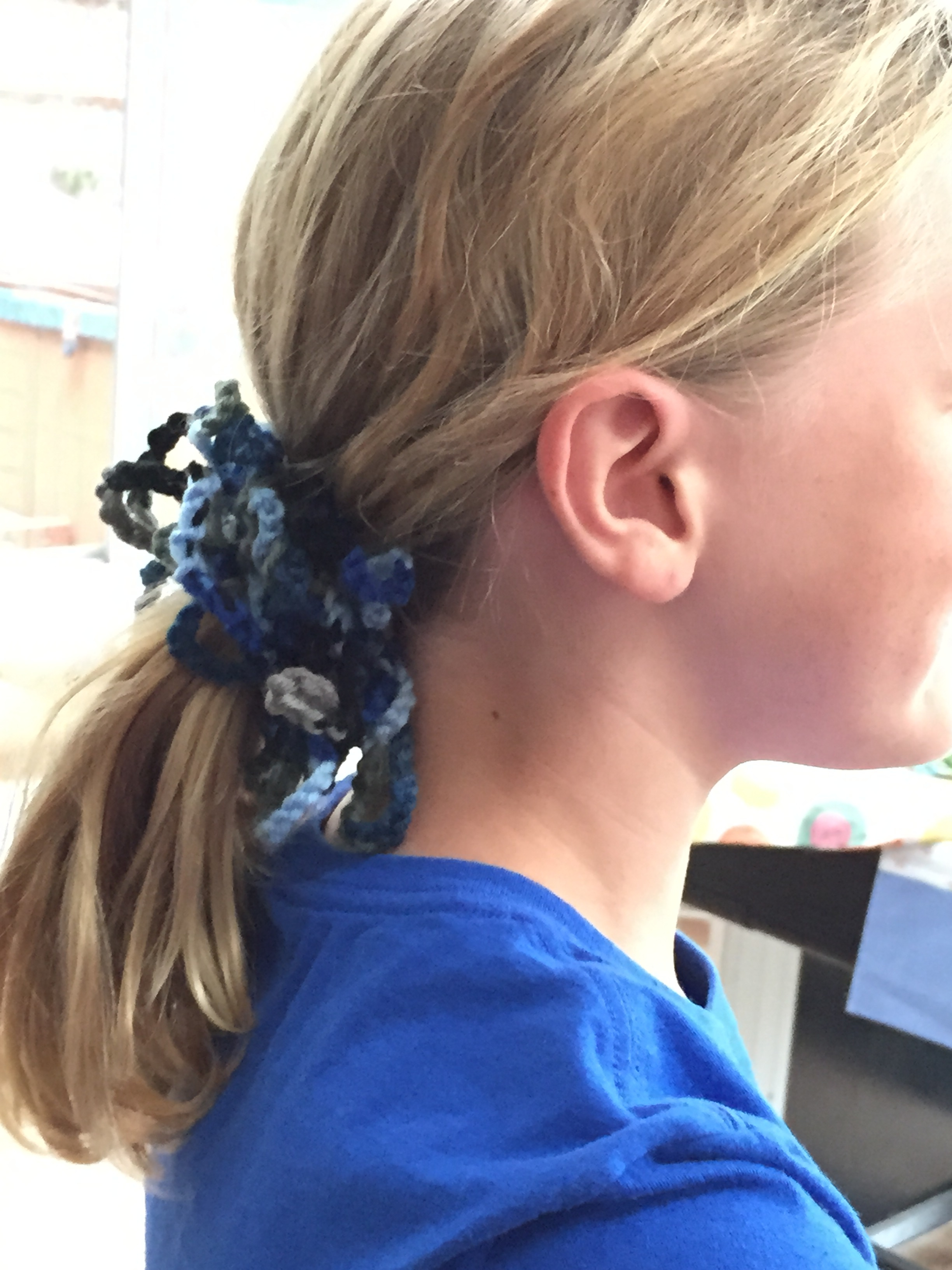 5th grader crochet scrunchie.