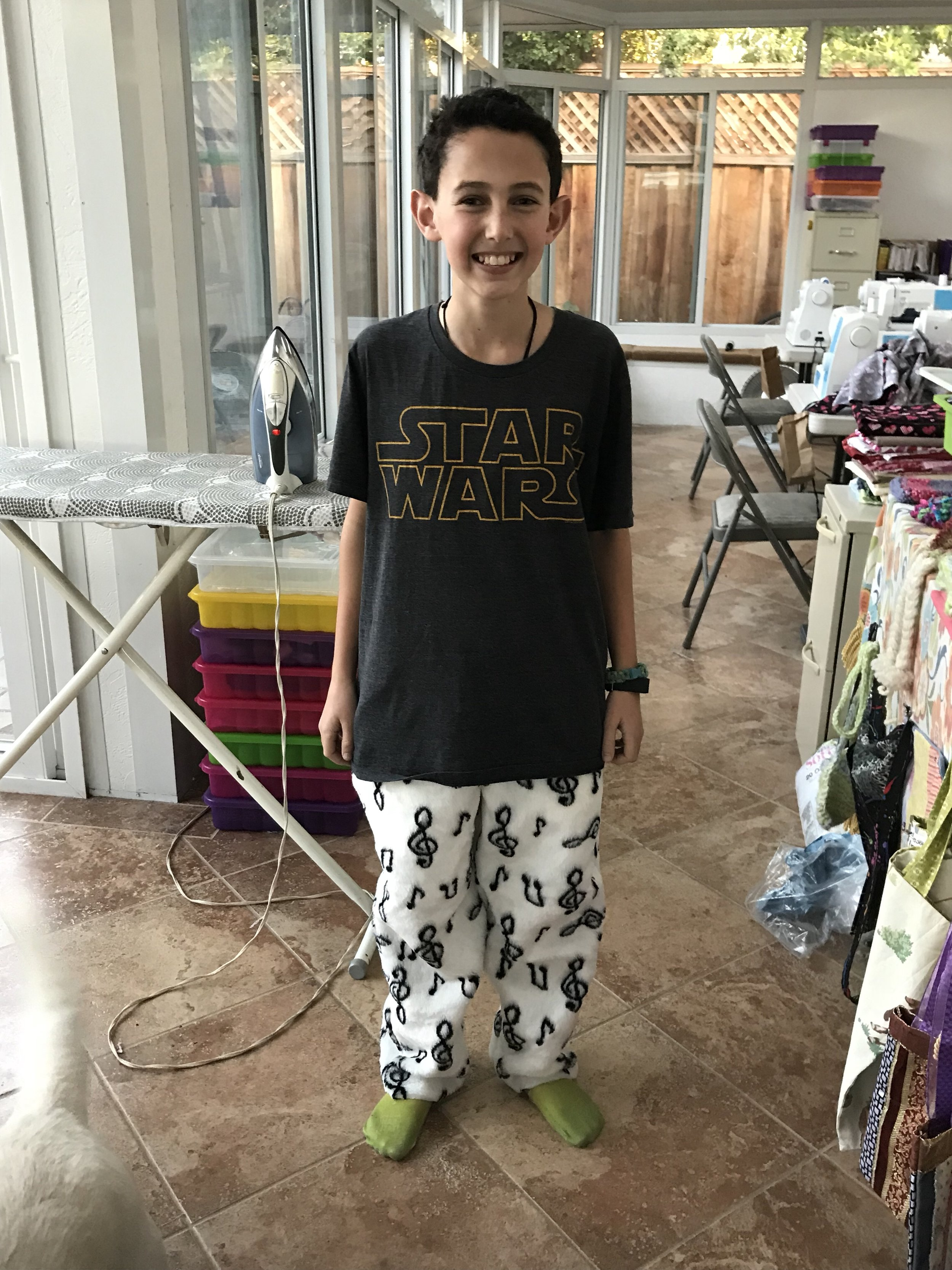 Jammie pants made by a 12 year old.  Yes, boys like to sew!