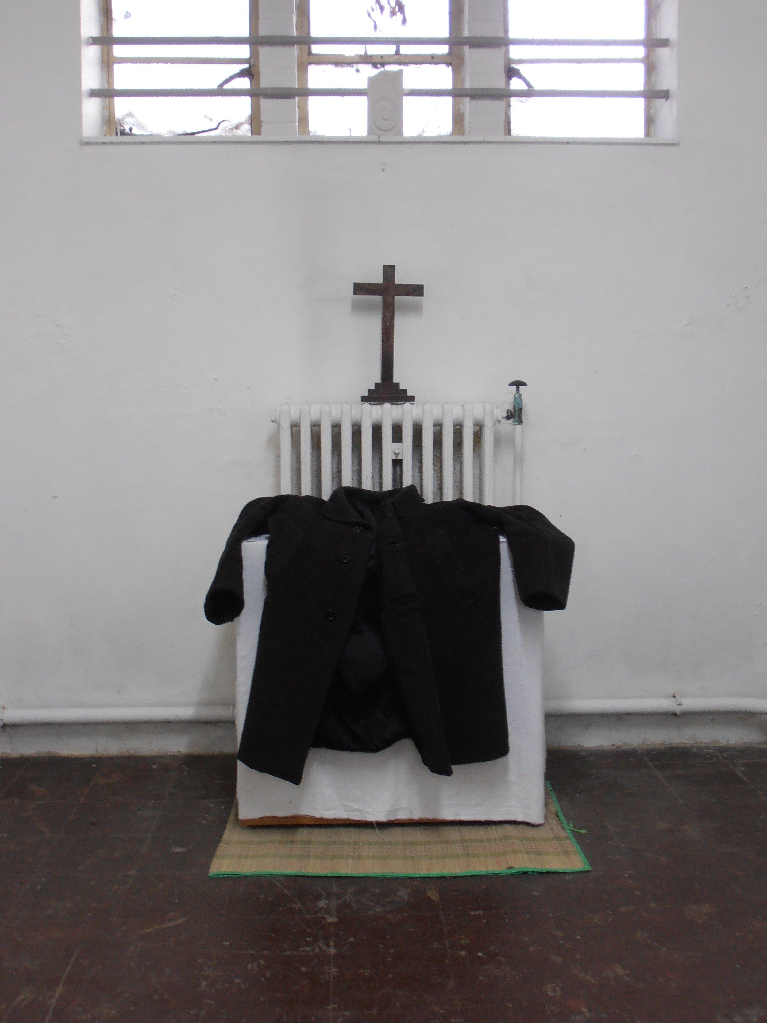 Regan O'Callaghan Old Faithful friend, altar, winter coat,
