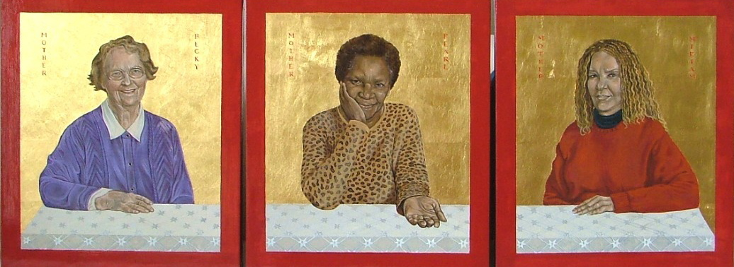 Regan O'Callaghan 3 mothers, religious icon, sainthood of all believers, gold leaf, Bishop of London, liturgical colours