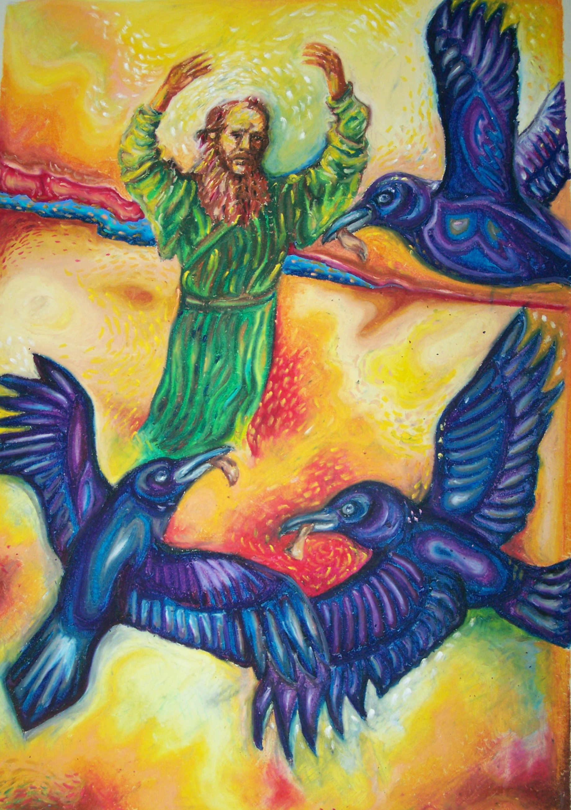 Regan O'Callaghan Elijah and the ravens, oil pastel, wadi,