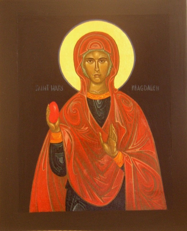 Regan O'Callaghan Mary Magdalene religious icon, easter story, blood egg