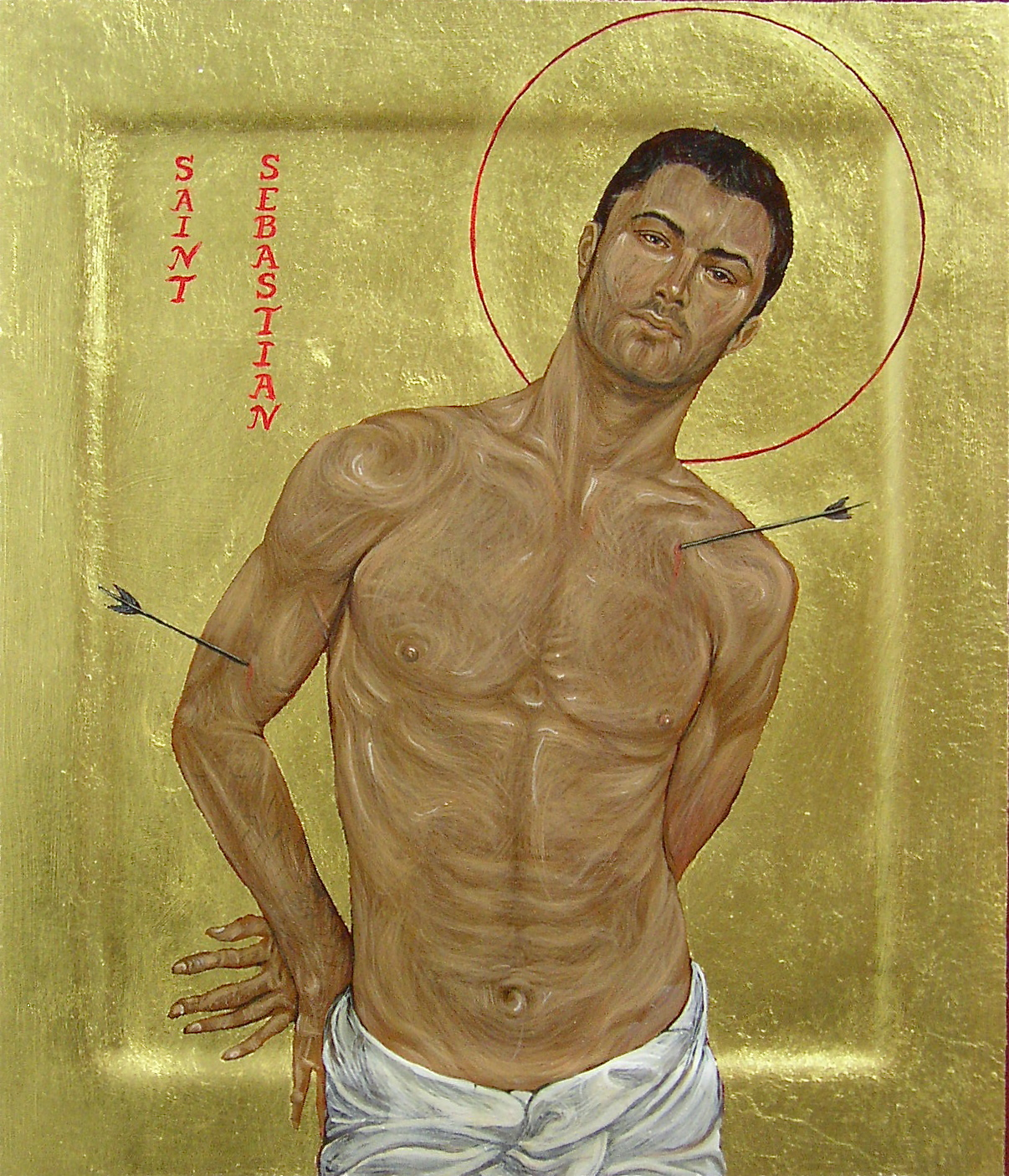 Regan O'Callaghan Saint Sebastian, religious icon, gay icon, egg tempera, gold leaf, contemporary