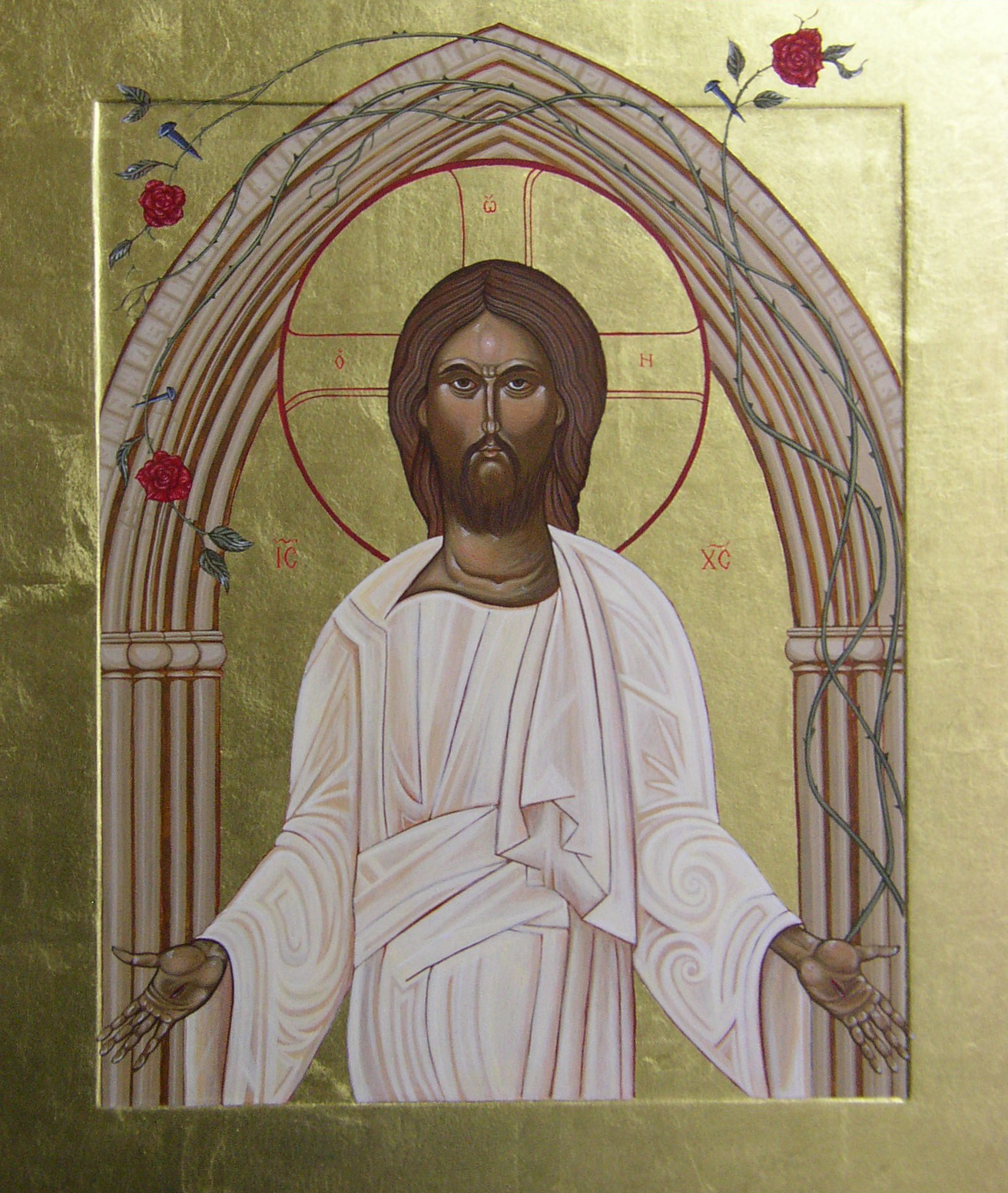 Regan O'Callaghan saint Saviour's Pimlico, London church, religious icon, egg tempera, gold leaf, church entrance