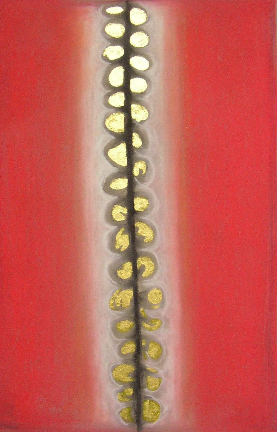 Regan O'Callaghan Savitri spine, pastel, gold leaf on paper, satyavan
