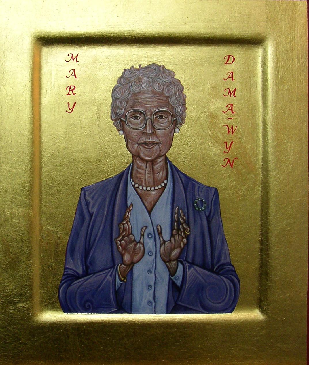 Regan O'Callaghan Dama wyn, religious icon, egg tempera, sainthood of all believers, cornish