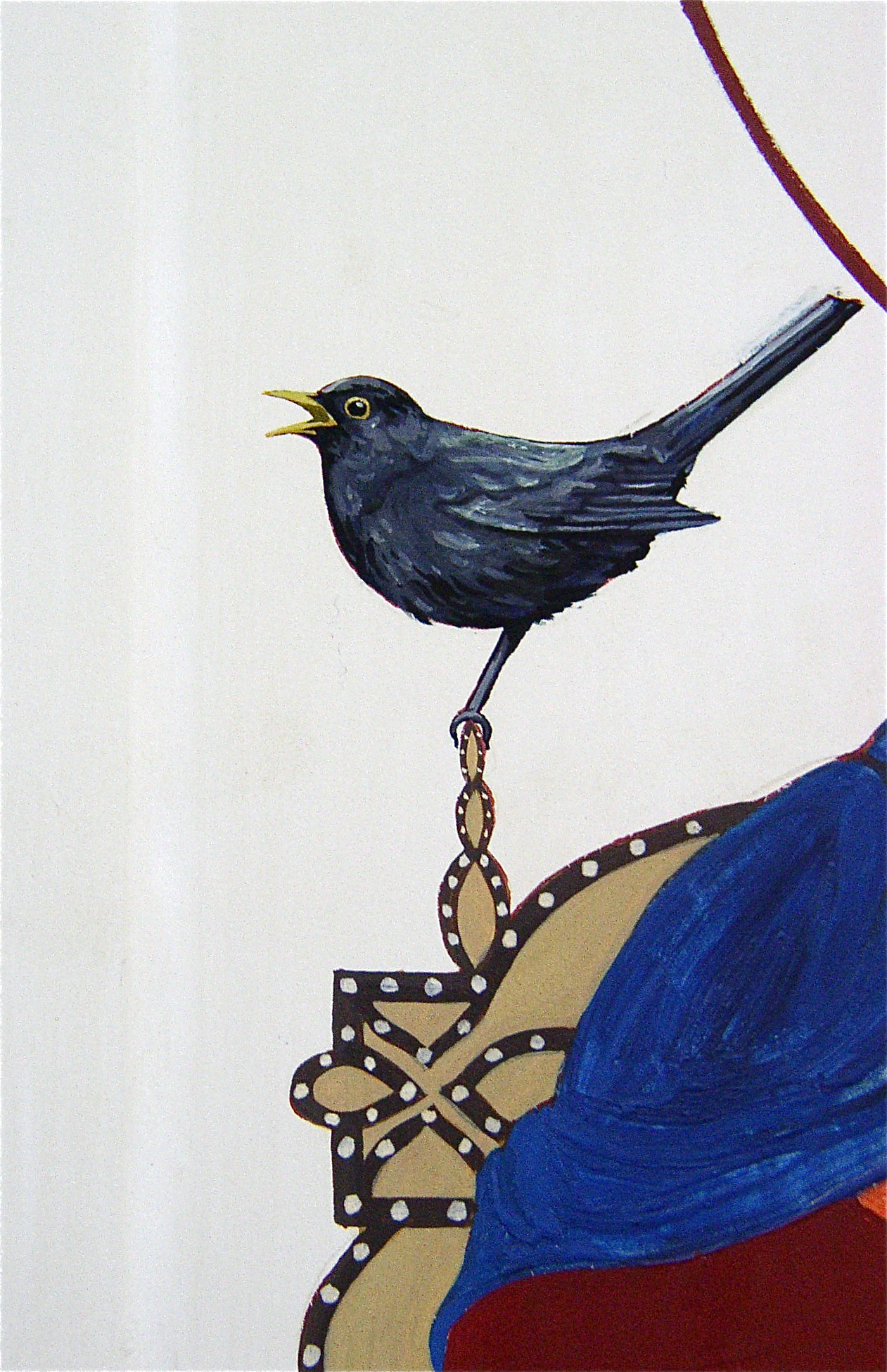 Regan O'Callaghan Blackbird, I heard a blackbird sing, egg tempera, religious icon, halo