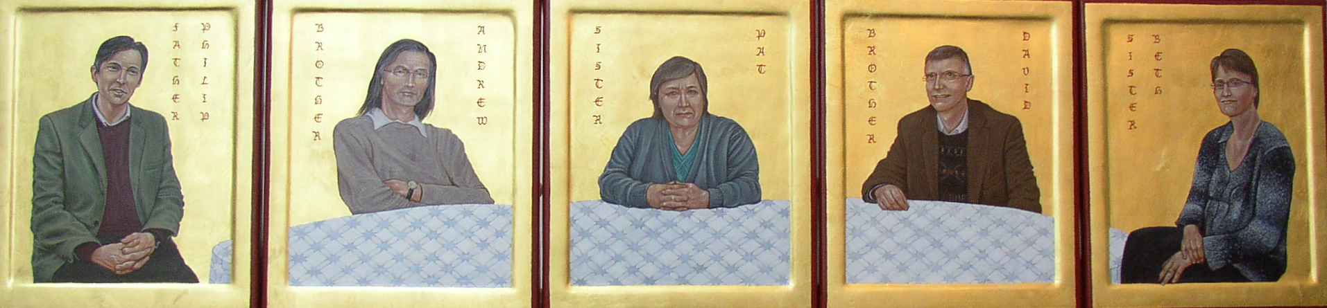 Regan O'Callaghan religious icon, sainthood of all believers, gold leaf, egg tempera
