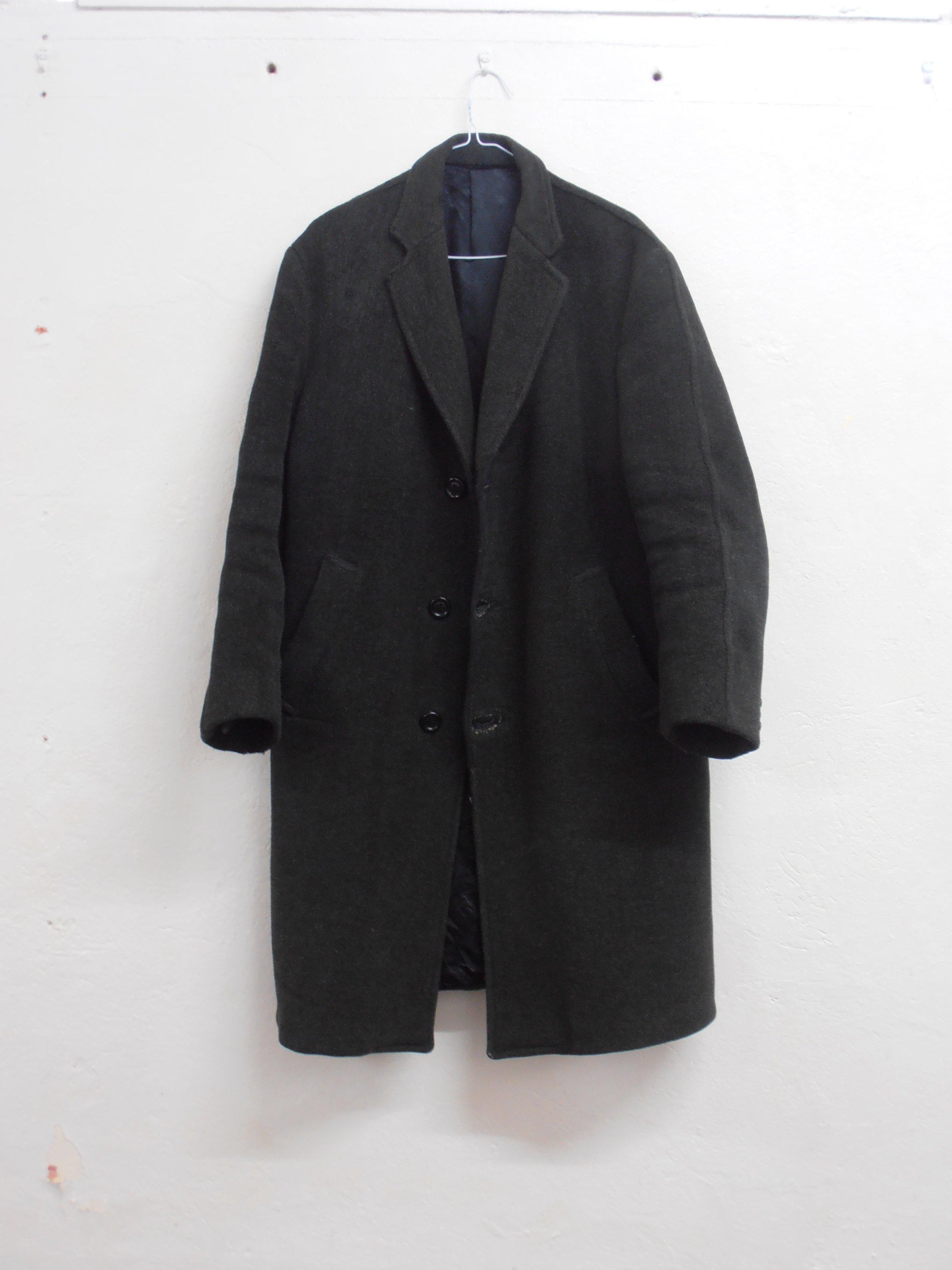 Regan O'Callaghan winter coat, old man coat, studio, British