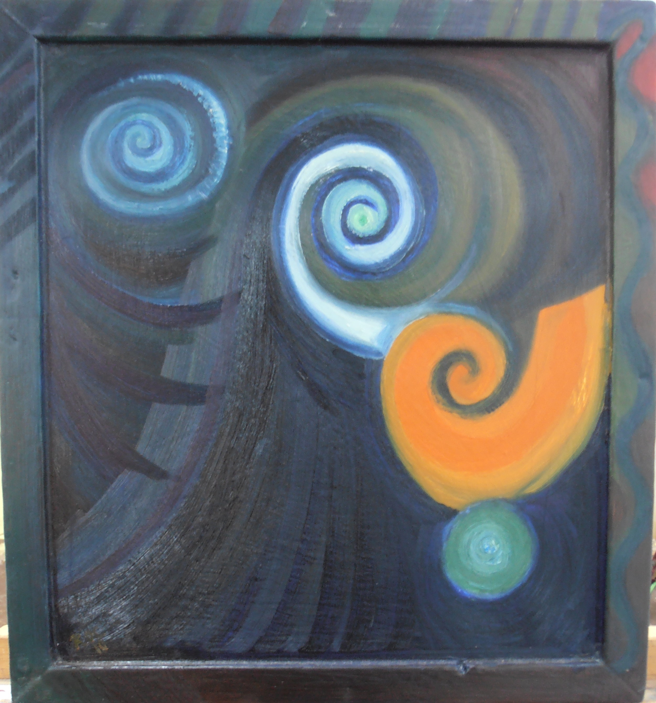 Regan O'Callaghan Death, Dancing with Death, oil painting, koru,