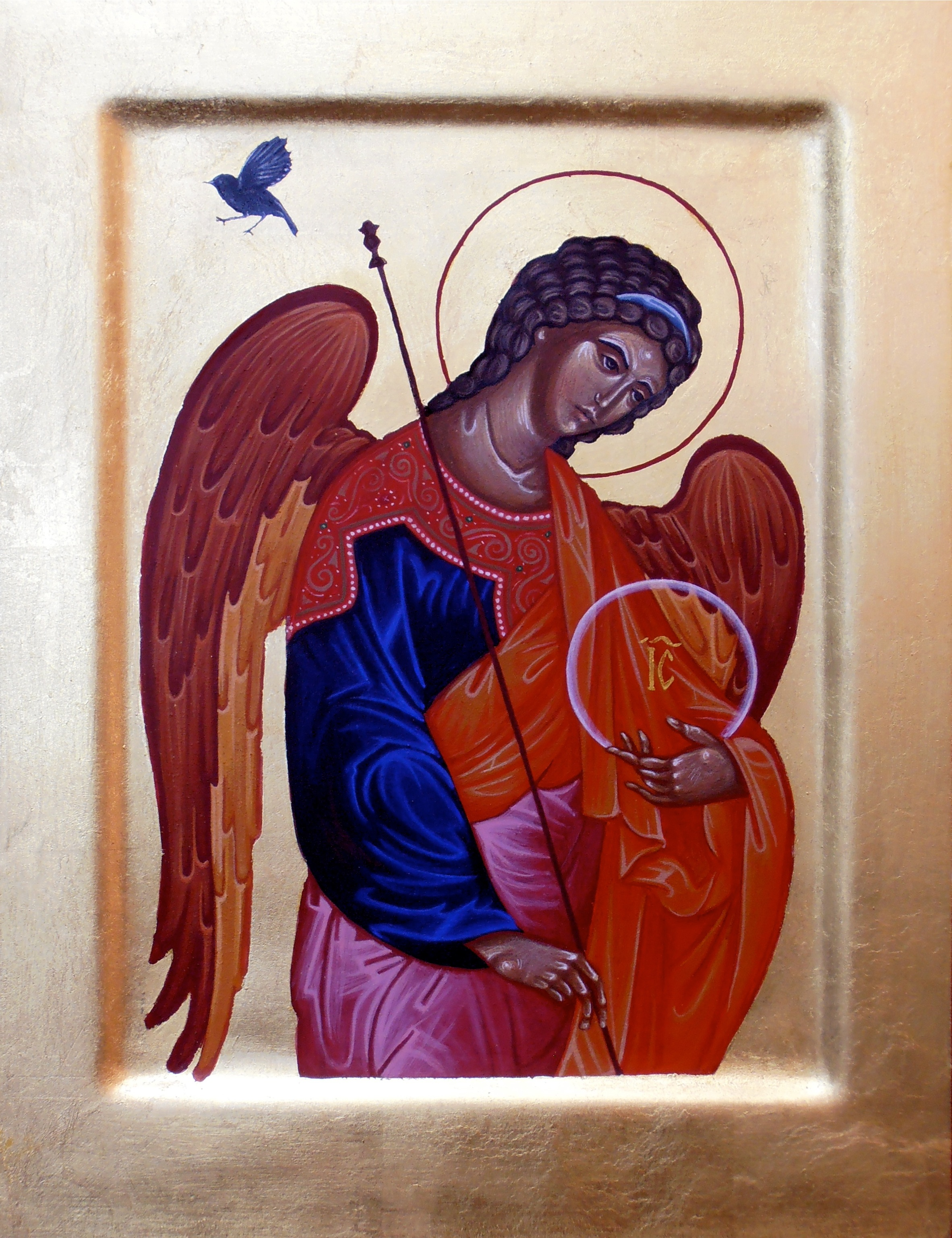 Regan O'Callaghan Black Robin and Archangel Michael Icon, Religious Icon, egg tempera on gesso,