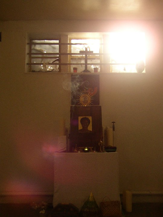 Regan O'Callaghan Altar, studio, sunset, incense