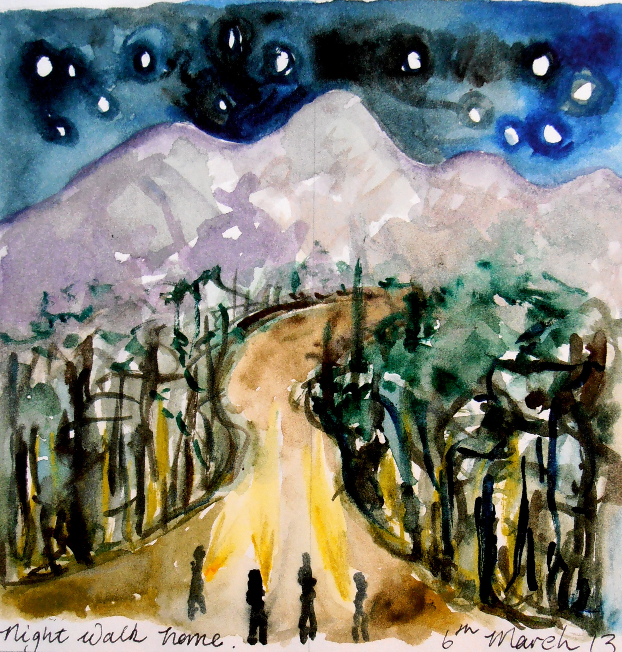 Regan O'Callaghan Night walk home Sachaqa Art Centre, Peru, Amazon, watercolour visual diary