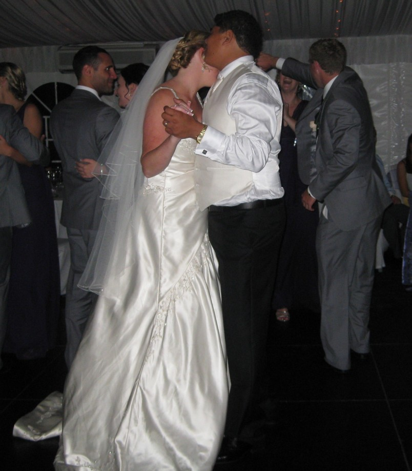 bride and groom dancing, no face showing