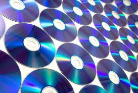 Wall of blue CDs