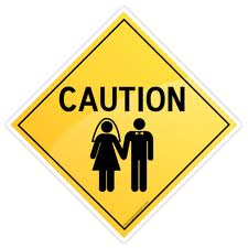 Caution Sign with Bride and Groom