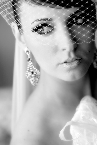 Close up of bride black and white photo for makeup