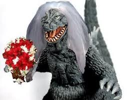 Godzilla in a bridal veil hold a bouquet birdezilla bridal-zilla