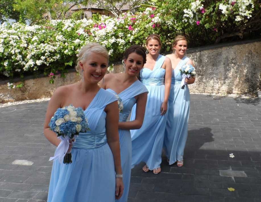 Bridesmaids in baby Blue dresses