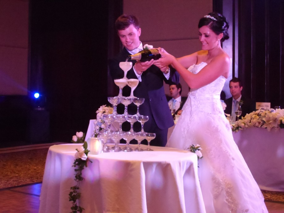 Champange Pouring with Bride and Groom