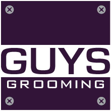 purple square logo with nut bolts of guys grooming