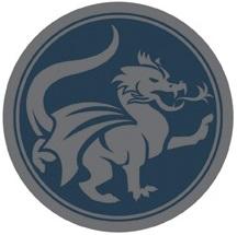 Grey dragon in blue circle