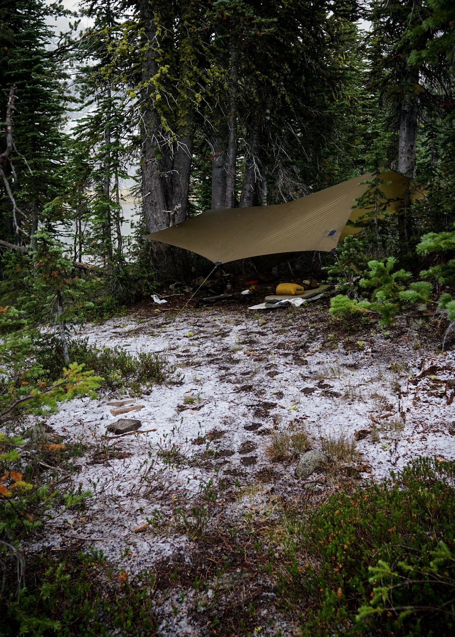A warm nights sleep during a September snow dusting.