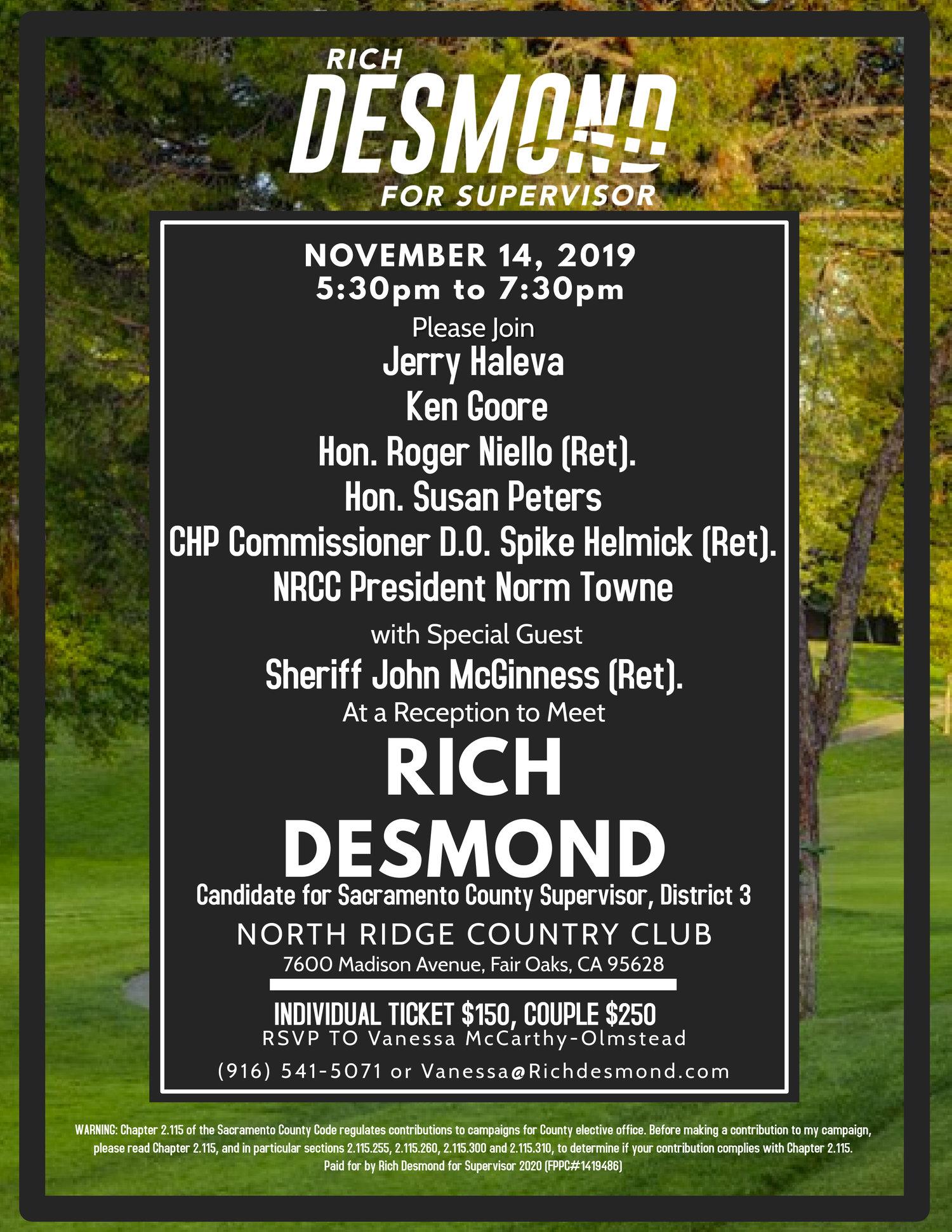 County Fair Sacramento 2020.November 14 Fundraiser Rich Desmond For Supervisor