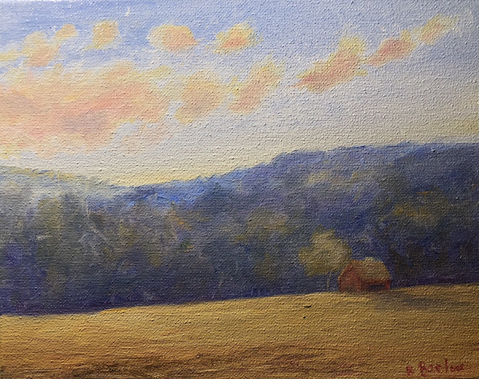 """Driving by Fields on a Summer Evening, Oil, 8""""x10"""""""