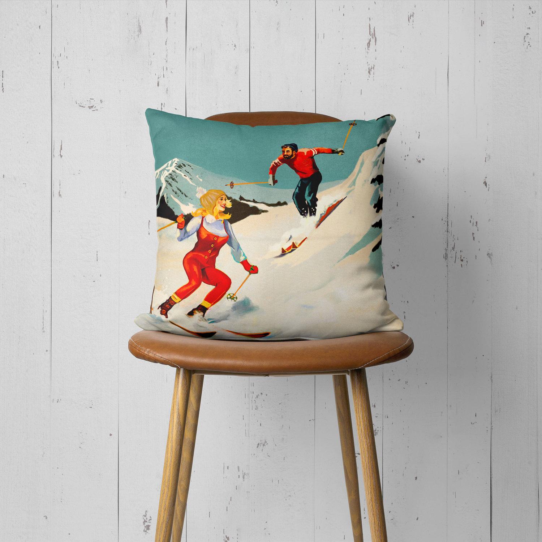 Apres Ski Cool Retro Skiing Pinup Art Throw Pillow The Whiskey Ginger