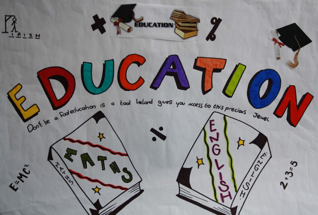 'Education' – Students from St. John's College, De La Salle chose to highlight education in this image and its importance to children in Ireland.