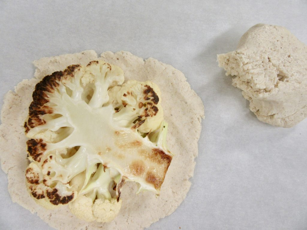Cauliflower steak on the dough