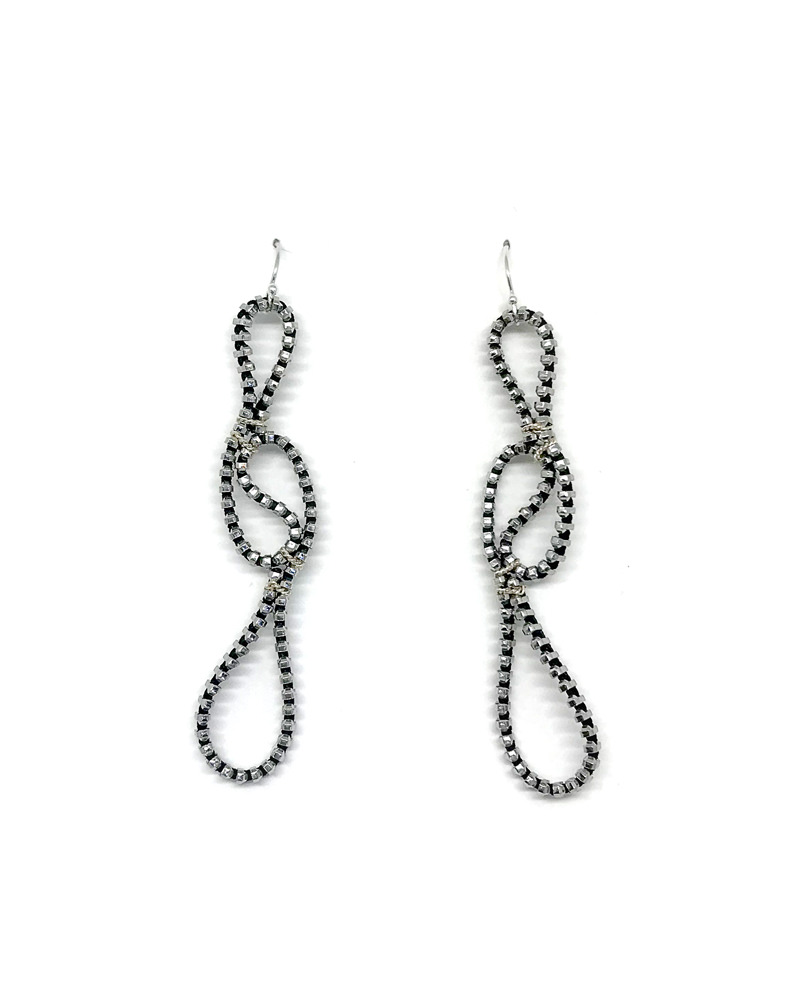 Black elegant long zipper earrings