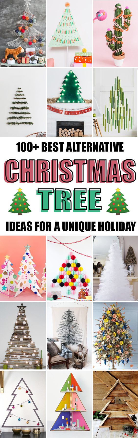 Here is a list of 100+ ideas for alternative Christmas tree you can try out this year for a unique holiday!! #christmas #christmastree #diy