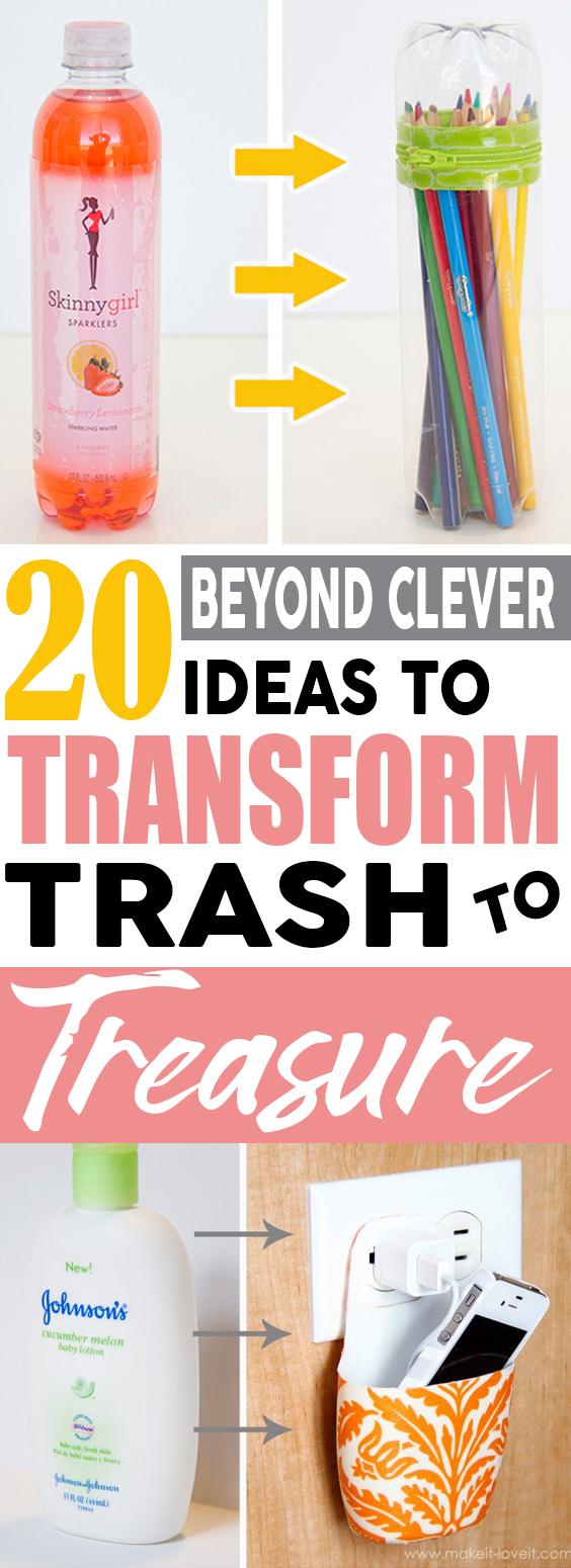 A list of 20 repurpose ideas to transform trash to treasure! #repurpose #upcycle