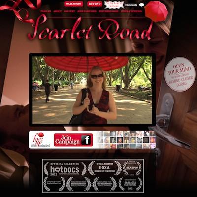 Screenshot of Scarlet Road website with trailer