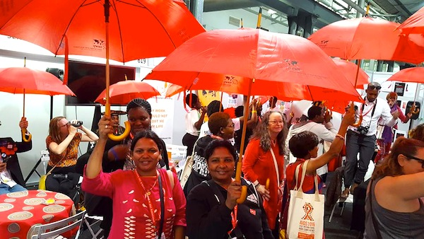 Red umbrellas ready to go
