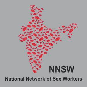 """map of india made up of red umbrellas, with NNSW and """"National Network of Sex Workers"""" below"""