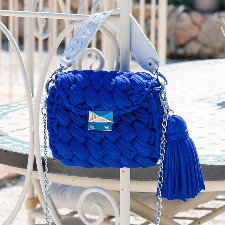Blue Crochet Rag Handbag