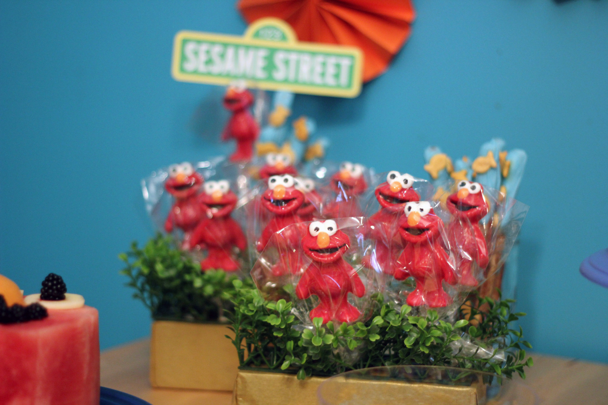 Chocolate Elmo lollipops