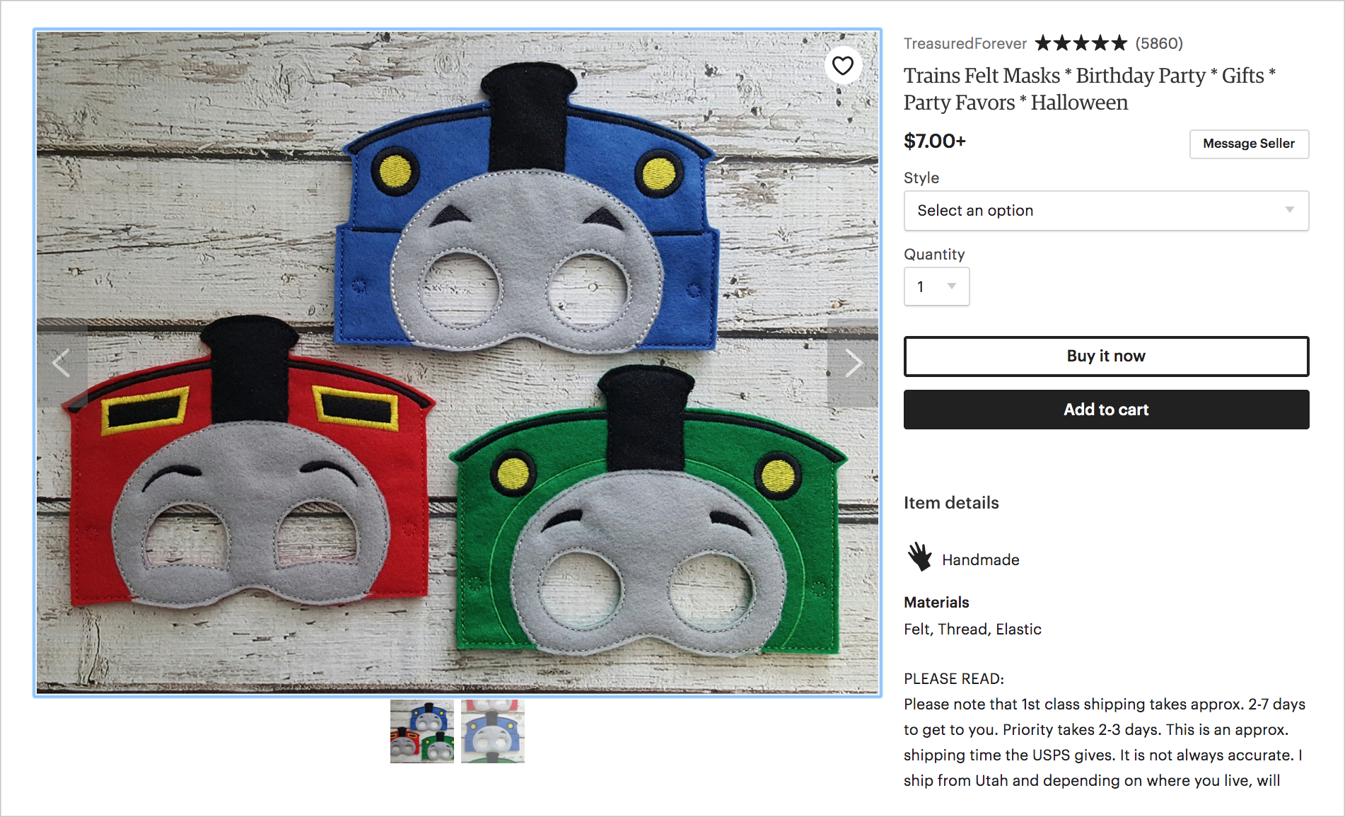 Thomas the Train felt masks