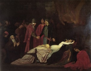 """""""The Reconciliation of the Montagues and Capulets over the Dead Bodies of Romeo and Juliet."""" Painting by Frederic Lord Leighton, 1855."""