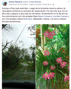 My mom's first FB post six days after the storm: after the storm comes the calm.