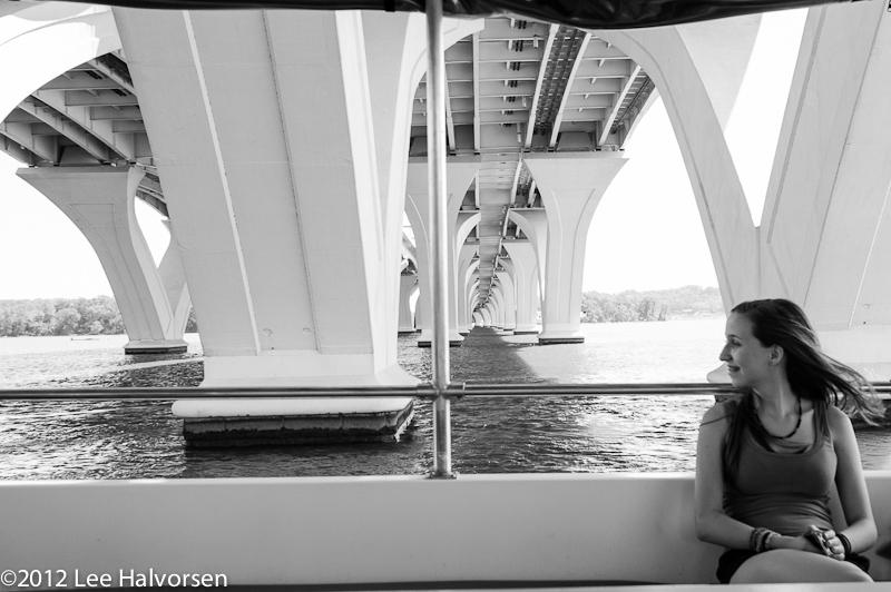 Kelsey on Boat About Under Woodrow Wilson Bridge