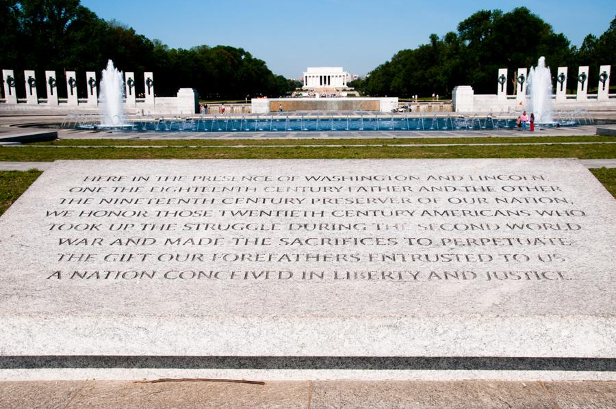 WWII Memorial Looking At Lincoln Memorial