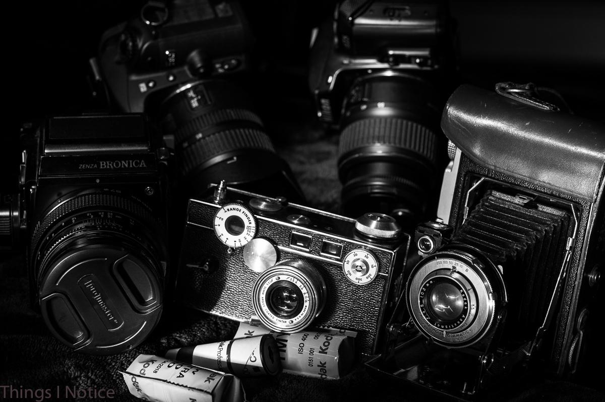 Light Painting B&W Antique Cameras