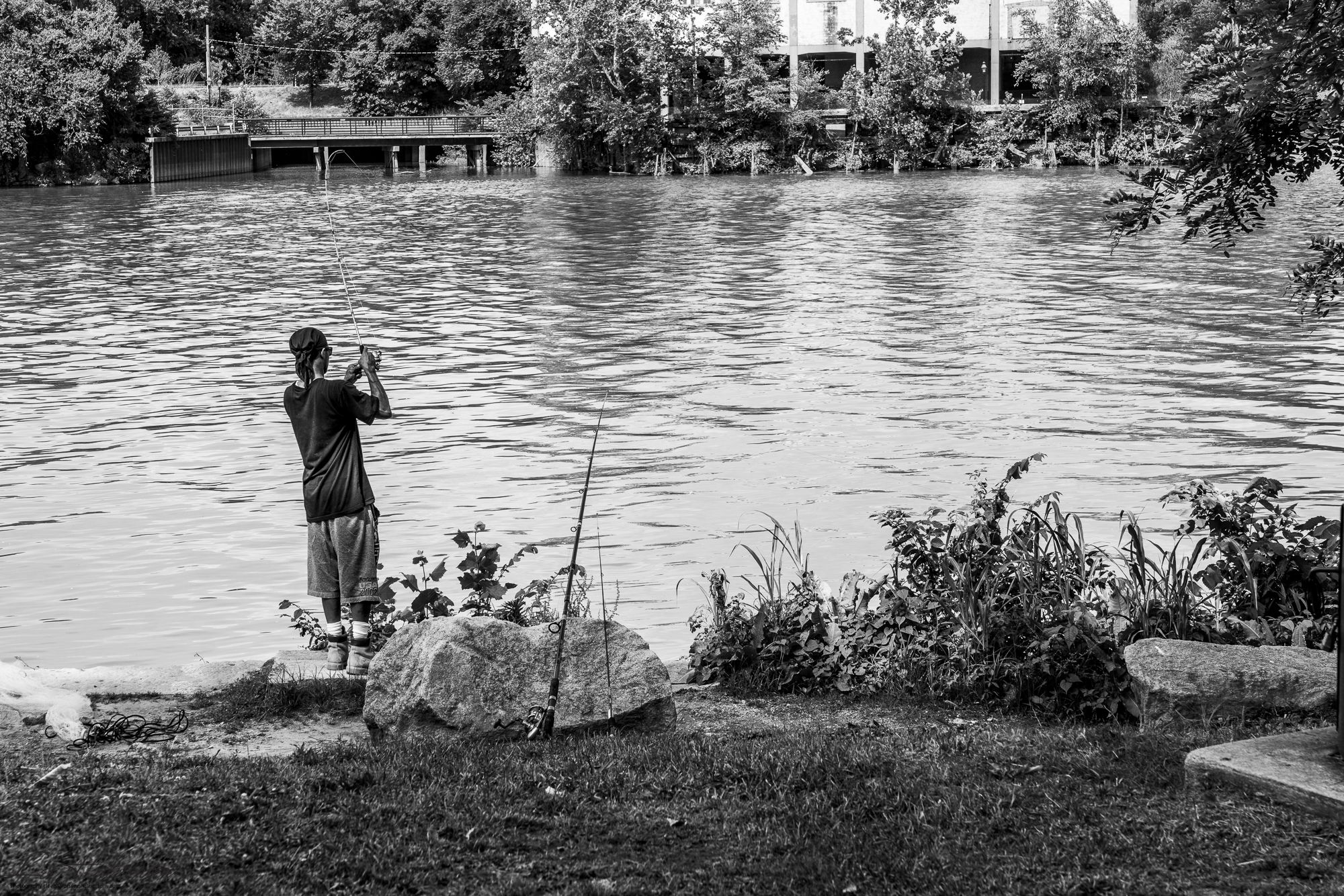 Fisherman on the site of the former Manchester Docks, Richmond, VA